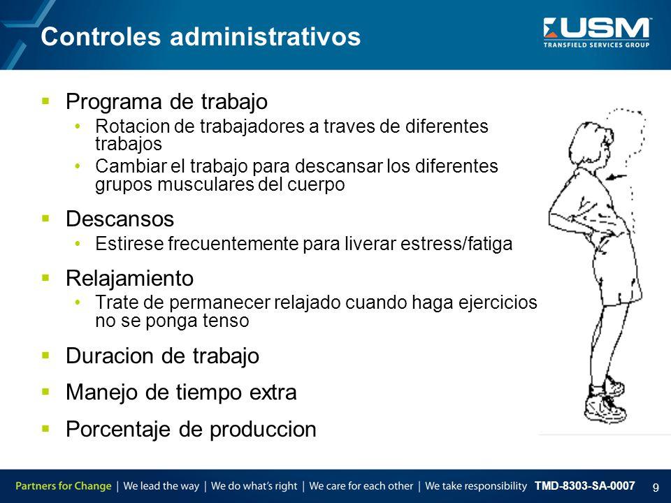 TMD-8303-SA-0007 9  Programa de trabajo Rotacion de trabajadores a traves de diferentes trabajos Cambiar el trabajo para descansar los diferentes gru