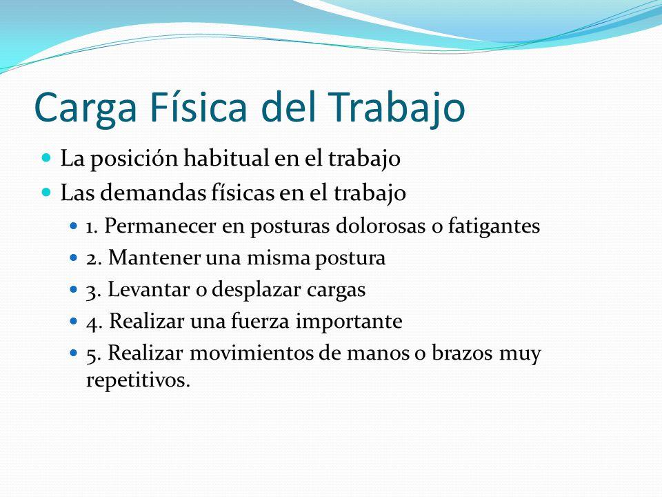 Carga Física del Trabajo La posición habitual en el trabajo Las demandas físicas en el trabajo 1.