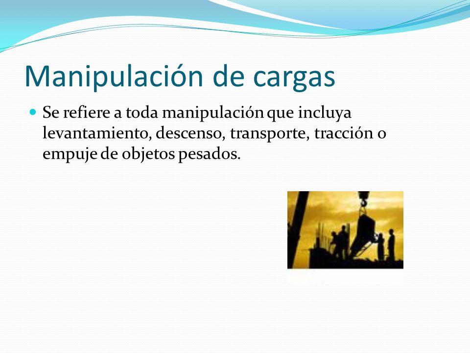 Manipulación de cargas Se refiere a toda manipulación que incluya levantamiento, descenso, transporte, tracción o empuje de objetos pesados.