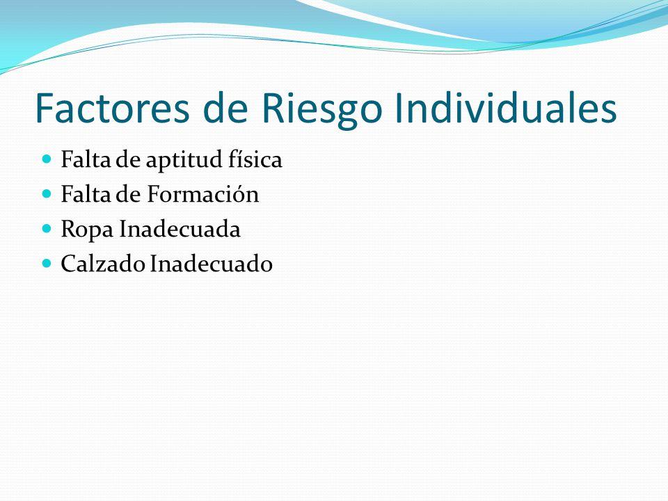 Factores de Riesgo Individuales Falta de aptitud física Falta de Formación Ropa Inadecuada Calzado Inadecuado