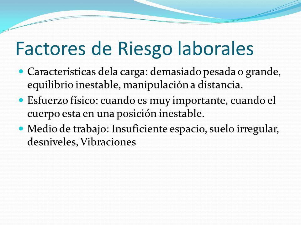 Factores de Riesgo laborales Características dela carga: demasiado pesada o grande, equilibrio inestable, manipulación a distancia.