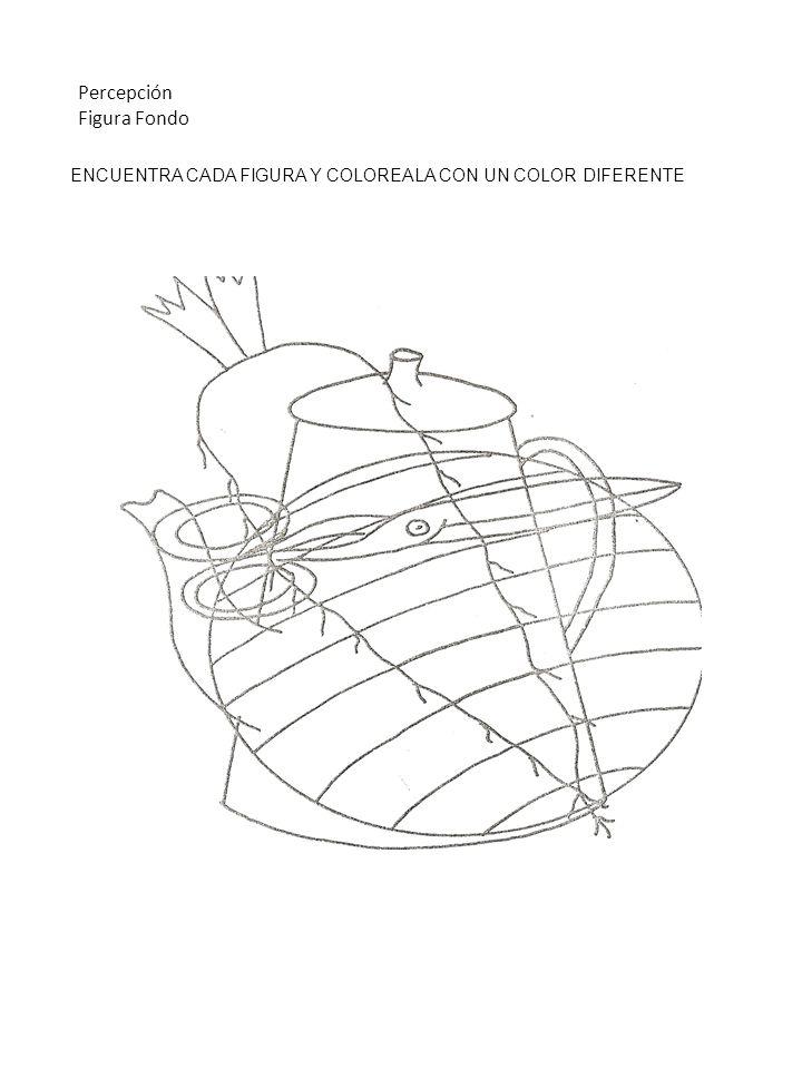 ENCUENTRA CADA FIGURA Y COLOREALA CON UN COLOR DIFERENTE Percepción Figura Fondo