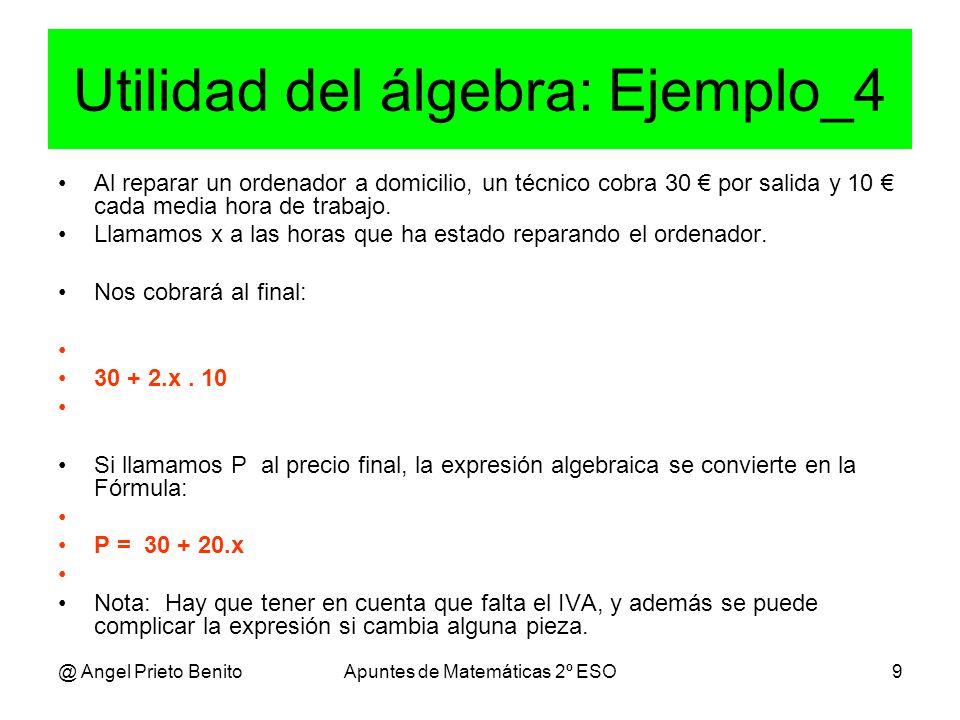 @ Angel Prieto BenitoApuntes de Matemáticas 2º ESO9 Utilidad del álgebra: Ejemplo_4 Al reparar un ordenador a domicilio, un técnico cobra 30 € por salida y 10 € cada media hora de trabajo.
