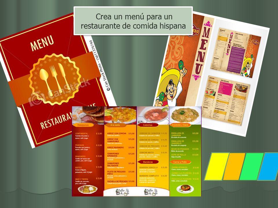 Crea un menú para un restaurante de comida hispana