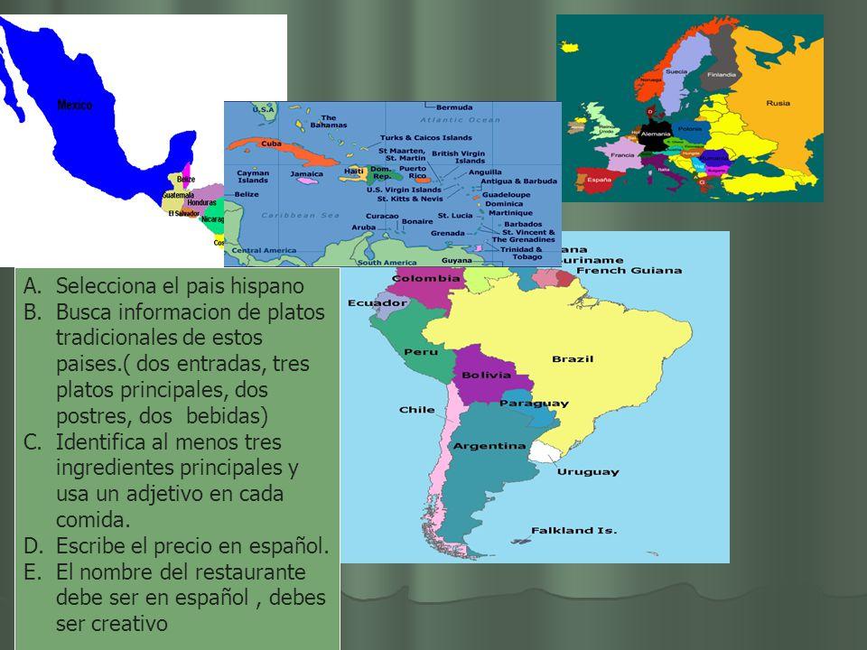 A.Selecciona el pais hispano B.Busca informacion de platos tradicionales de estos paises.( dos entradas, tres platos principales, dos postres, dos bebidas) C.Identifica al menos tres ingredientes principales y usa un adjetivo en cada comida.