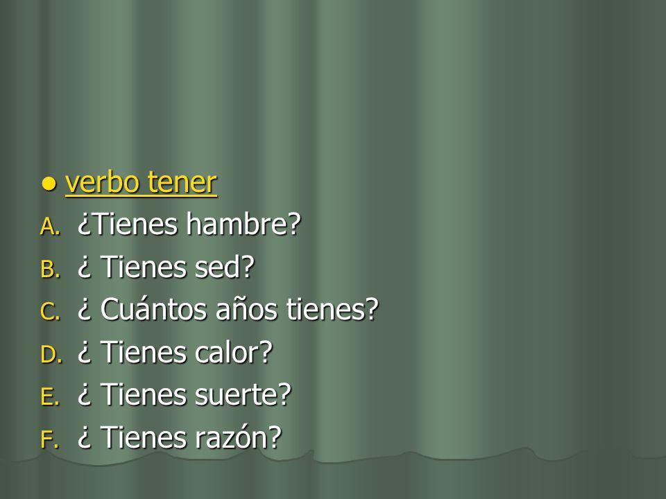 verbo tener verbo tener verbo tener verbo tener A.