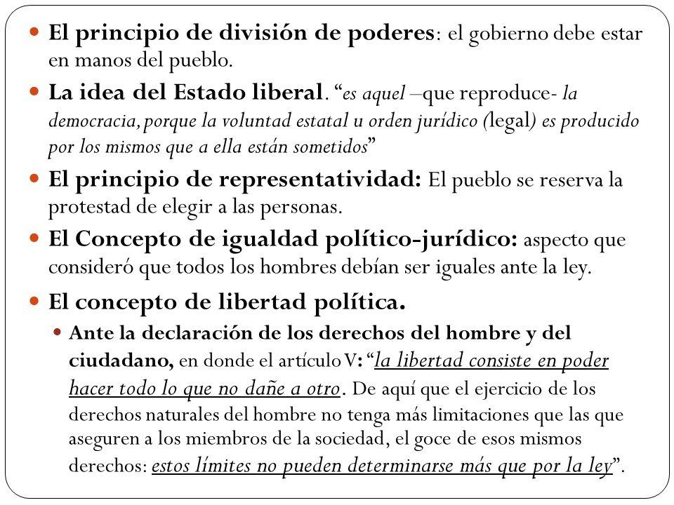 El principio de división de poderes : el gobierno debe estar en manos del pueblo.