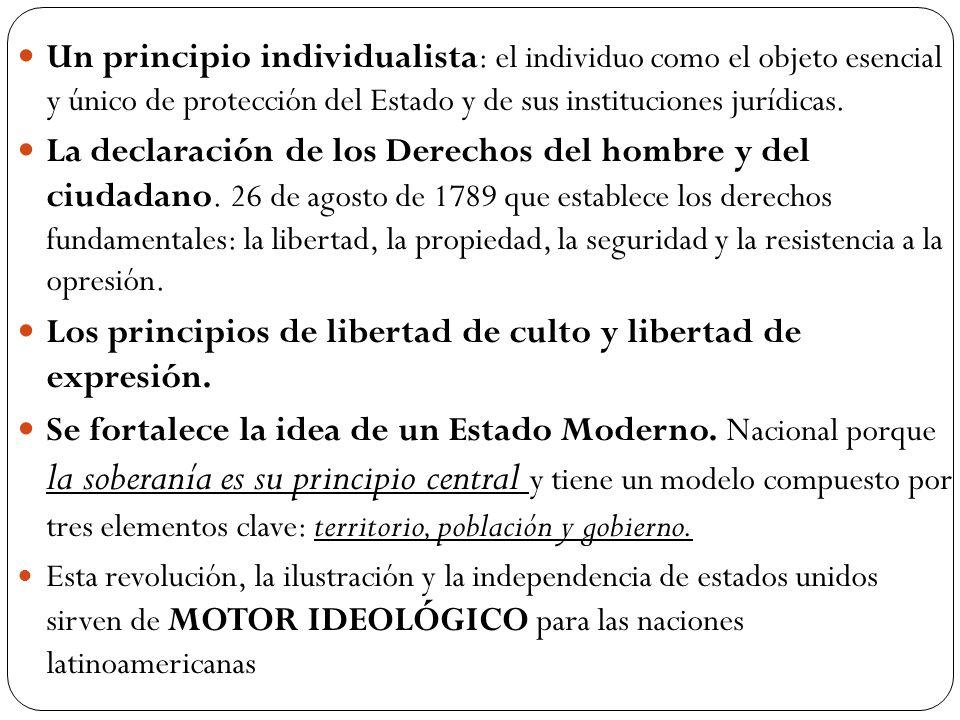 Un principio individualista : el individuo como el objeto esencial y único de protección del Estado y de sus instituciones jurídicas.