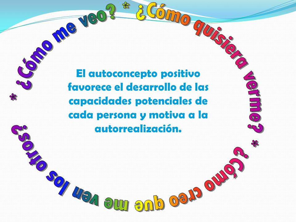 El autoconcepto positivo favorece el desarrollo de las capacidades potenciales de cada persona y motiva a la autorrealización.