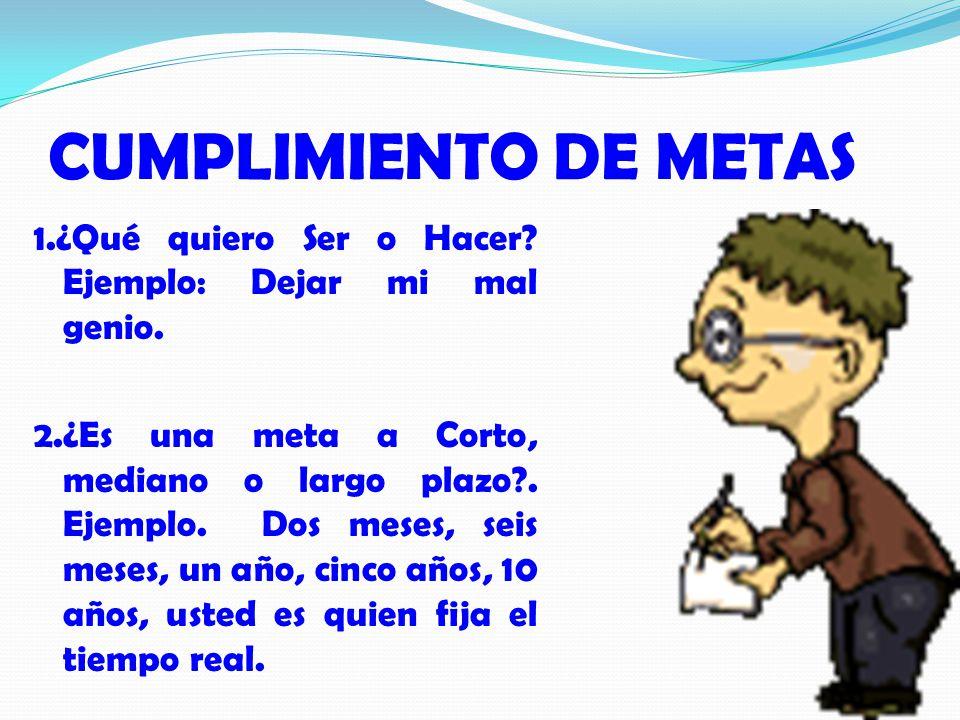 CUMPLIMIENTO DE METAS 1.¿Qué quiero Ser o Hacer.Ejemplo: Dejar mi mal genio.