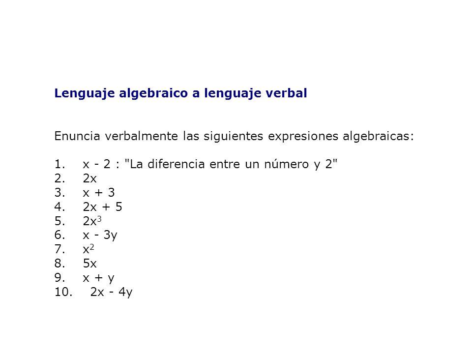 Lenguaje algebraico a lenguaje verbal Enuncia verbalmente las siguientes expresiones algebraicas: 1.