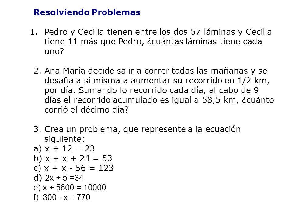 Resolviendo Problemas 1.Pedro y Cecilia tienen entre los dos 57 láminas y Cecilia tiene 11 más que Pedro, ¿cuántas láminas tiene cada uno.