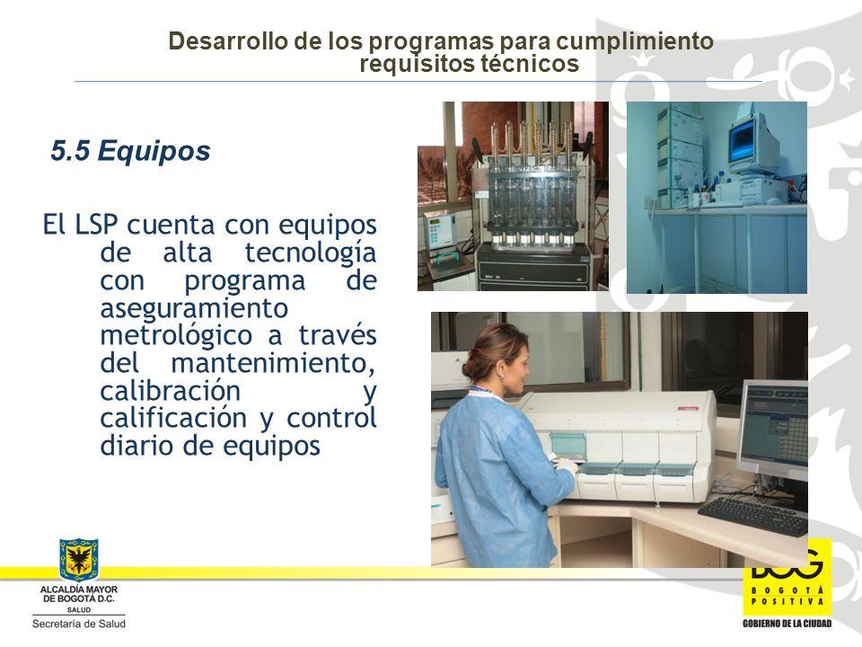 El LSP cuenta con equipos de alta tecnología con programa de aseguramiento metrológico a través del mantenimiento, calibración y calificación y control diario de equipos 5.5 Equipos Desarrollo de los programas para cumplimiento requisitos técnicos