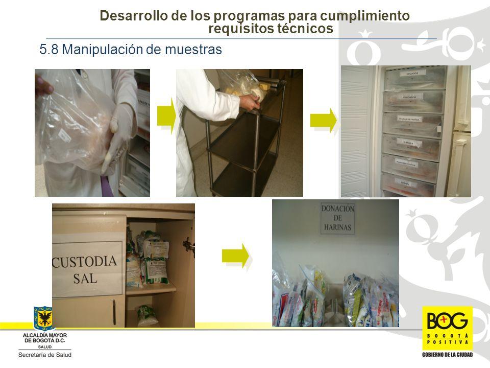 5.8 Manipulación de muestras Desarrollo de los programas para cumplimiento requisitos técnicos