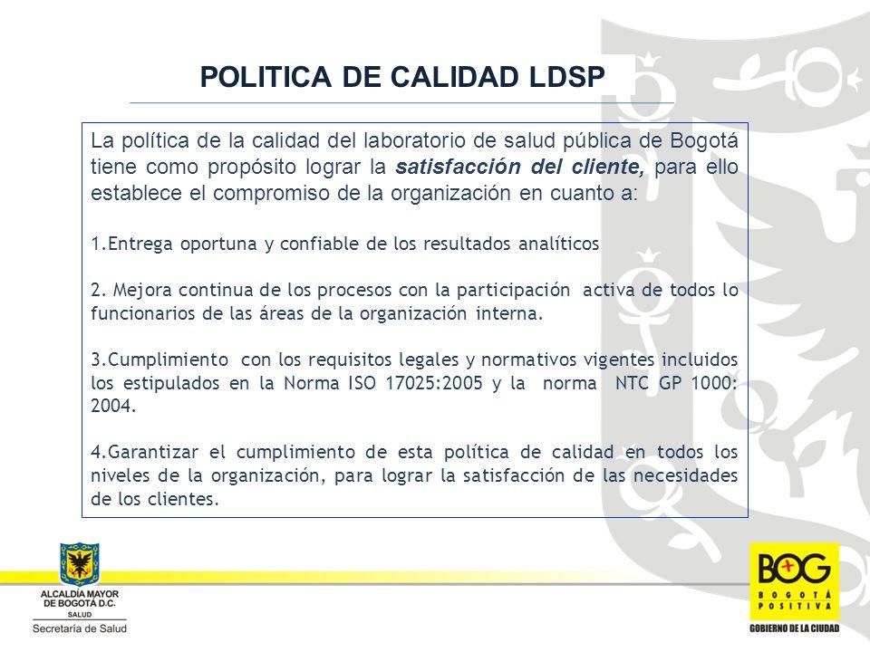 La política de la calidad del laboratorio de salud pública de Bogotá tiene como propósito lograr la satisfacción del cliente, para ello establece el compromiso de la organización en cuanto a: 1.Entrega oportuna y confiable de los resultados analíticos 2.
