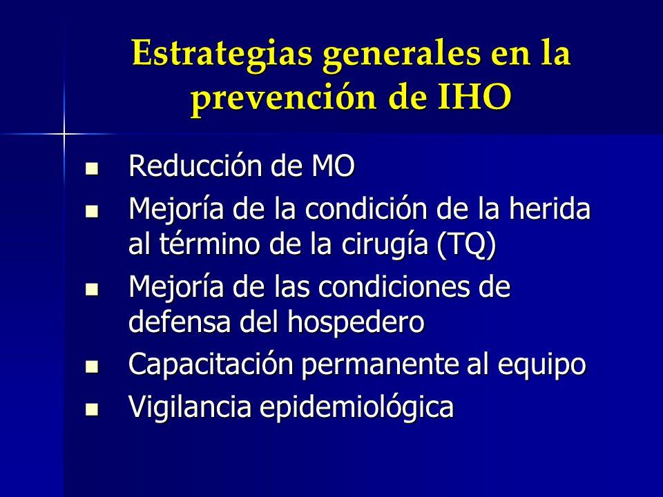 Estrategias generales en la prevención de IHO Reducción de MO Reducción de MO Mejoría de la condición de la herida al término de la cirugía (TQ) Mejoría de la condición de la herida al término de la cirugía (TQ) Mejoría de las condiciones de defensa del hospedero Mejoría de las condiciones de defensa del hospedero Capacitación permanente al equipo Capacitación permanente al equipo Vigilancia epidemiológica Vigilancia epidemiológica