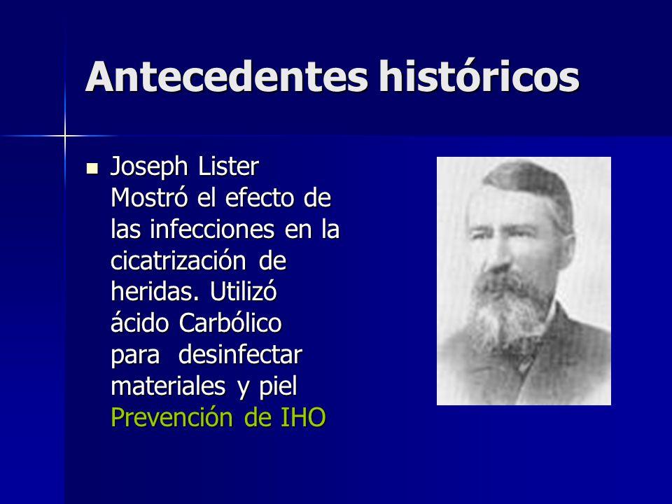 Antecedentes históricos Joseph Lister Mostró el efecto de las infecciones en la cicatrización de heridas.