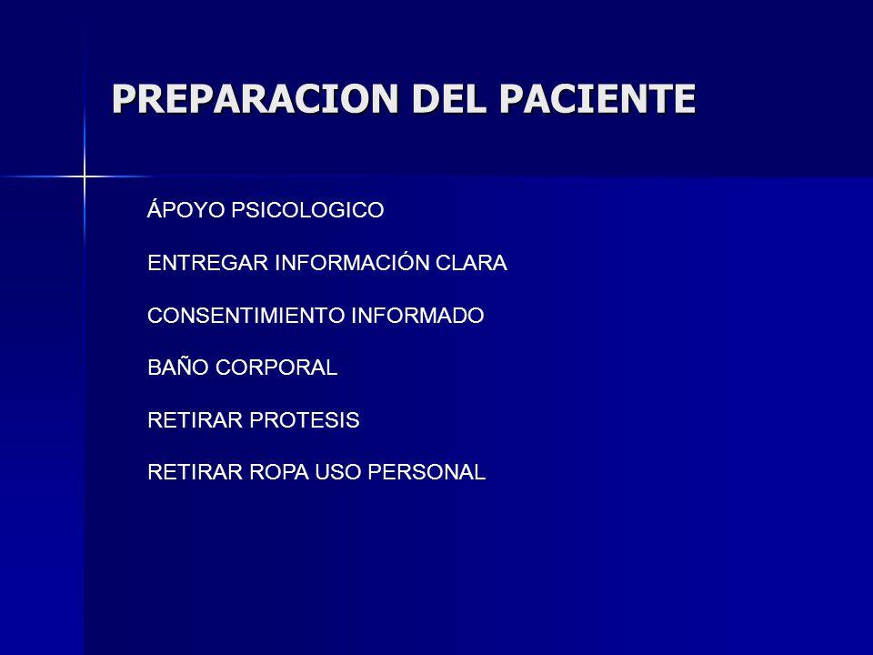 PREPARACION DEL PACIENTE ÁPOYO PSICOLOGICO ENTREGAR INFORMACIÓN CLARA CONSENTIMIENTO INFORMADO BAÑO CORPORAL RETIRAR PROTESIS RETIRAR ROPA USO PERSONAL