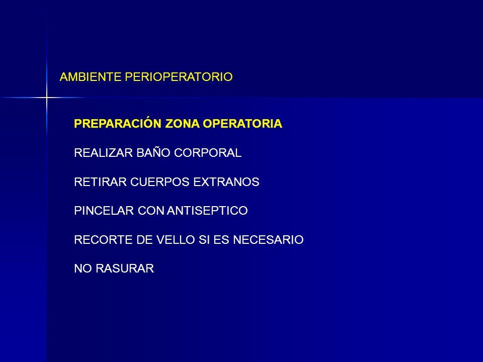 AMBIENTE PERIOPERATORIO PREPARACIÓN ZONA OPERATORIA REALIZAR BAÑO CORPORAL RETIRAR CUERPOS EXTRANOS PINCELAR CON ANTISEPTICO RECORTE DE VELLO SI ES NECESARIO NO RASURAR