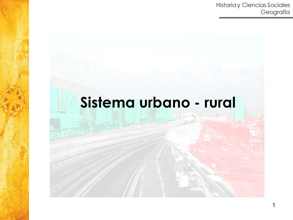 Historia y Ciencias Sociales Geografía 1 Sistema urbano - rural