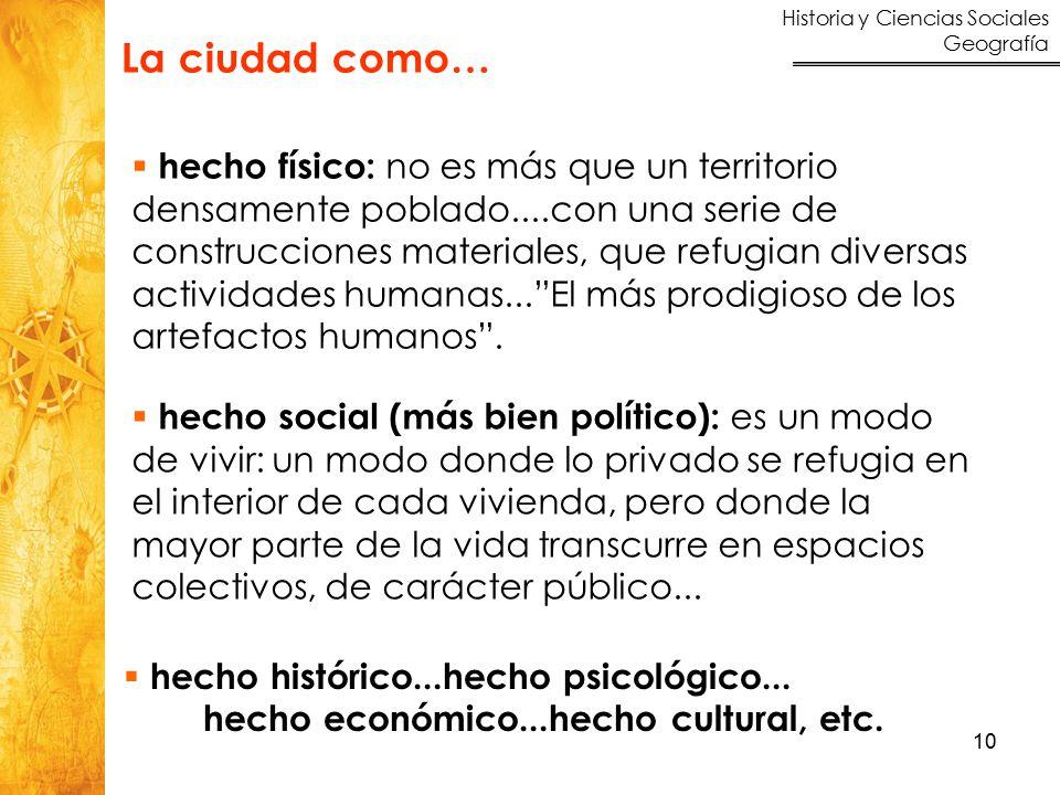 Historia y Ciencias Sociales Geografía 10  hecho histórico...hecho psicológico... hecho económico...hecho cultural, etc.  hecho físico: no es más qu