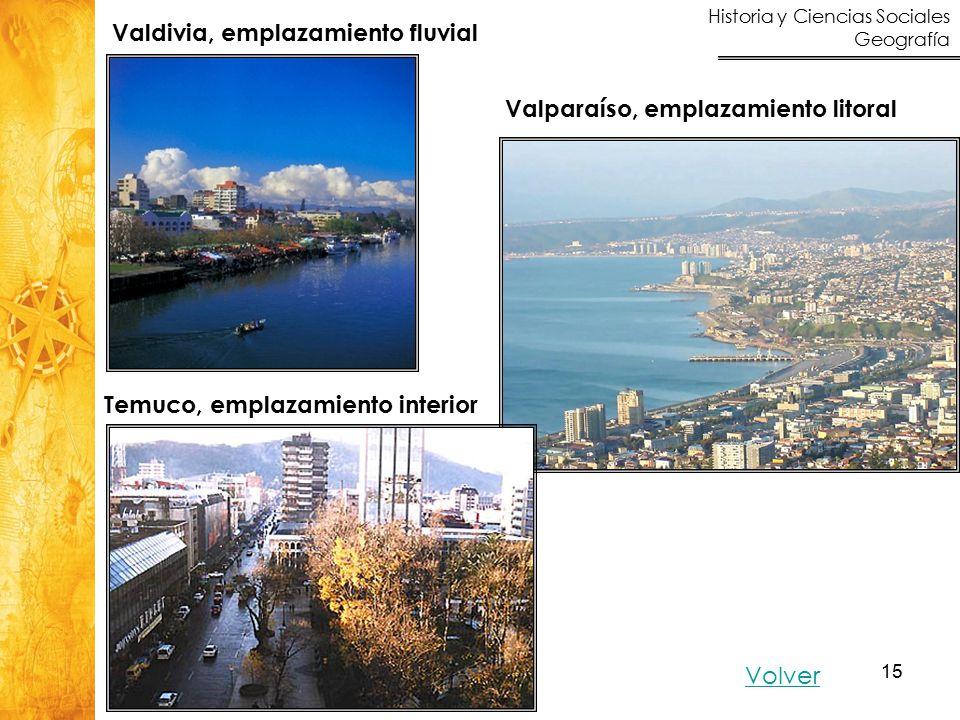 Historia y Ciencias Sociales Geografía 15 Volver Valdivia, emplazamiento fluvial Valparaíso, emplazamiento litoral Temuco, emplazamiento interior