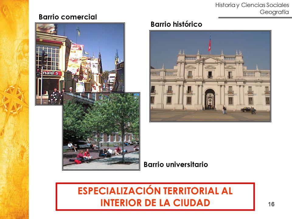 Historia y Ciencias Sociales Geografía 16 ESPECIALIZACIÓN TERRITORIAL AL INTERIOR DE LA CIUDAD Barrio histórico Barrio comercial Barrio universitario