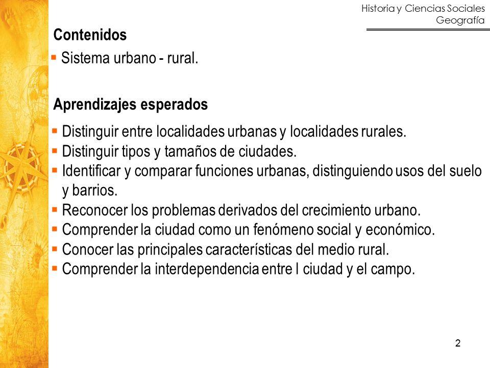 Historia y Ciencias Sociales Geografía 2 Contenidos Aprendizajes esperados  Sistema urbano - rural.  Distinguir entre localidades urbanas y localida