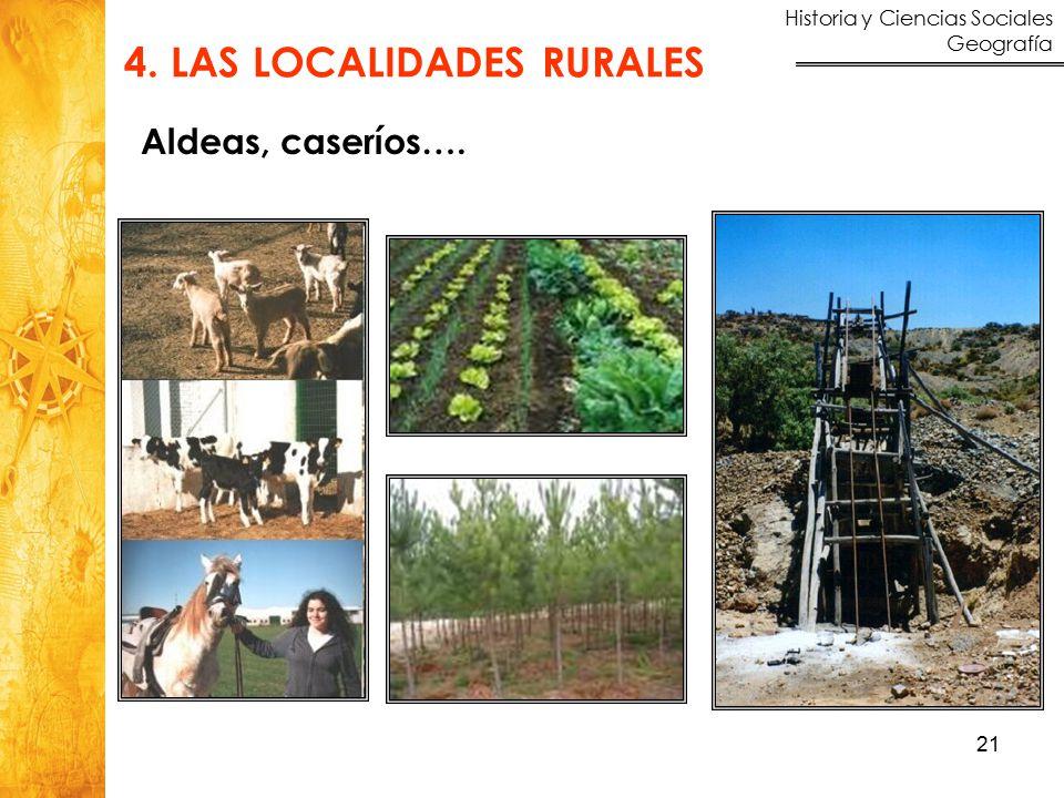 Historia y Ciencias Sociales Geografía 21 4. LAS LOCALIDADES RURALES Aldeas, caseríos….