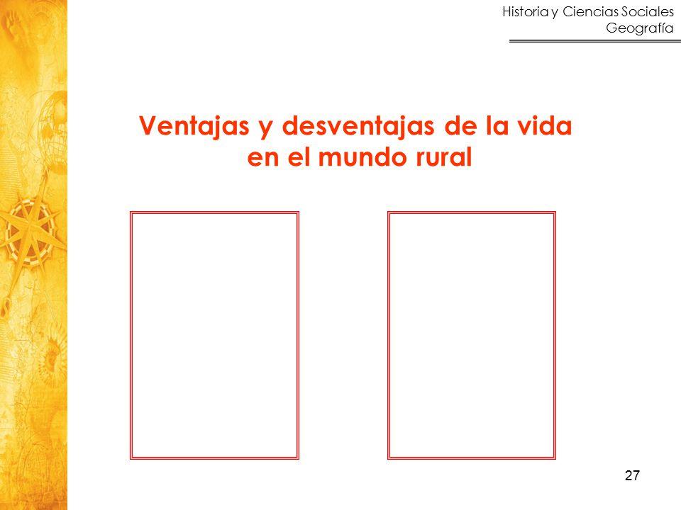 Historia y Ciencias Sociales Geografía 27 Ventajas y desventajas de la vida en el mundo rural