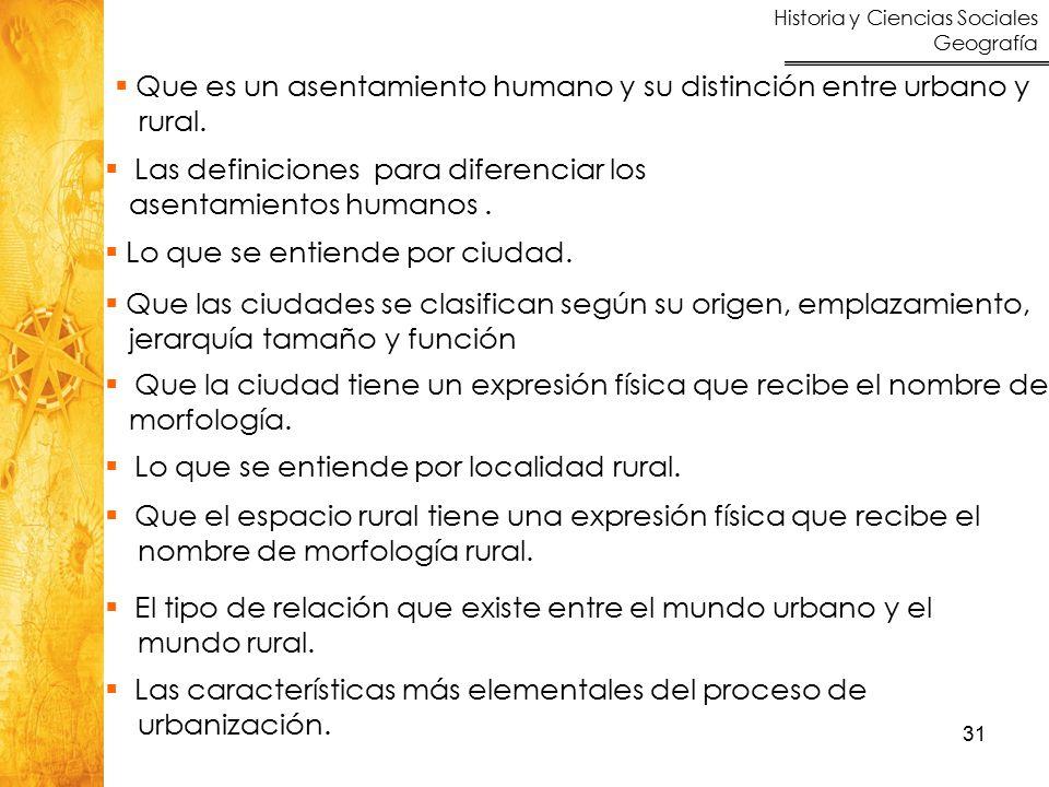 Historia y Ciencias Sociales Geografía 31  Que es un asentamiento humano y su distinción entre urbano y rural.
