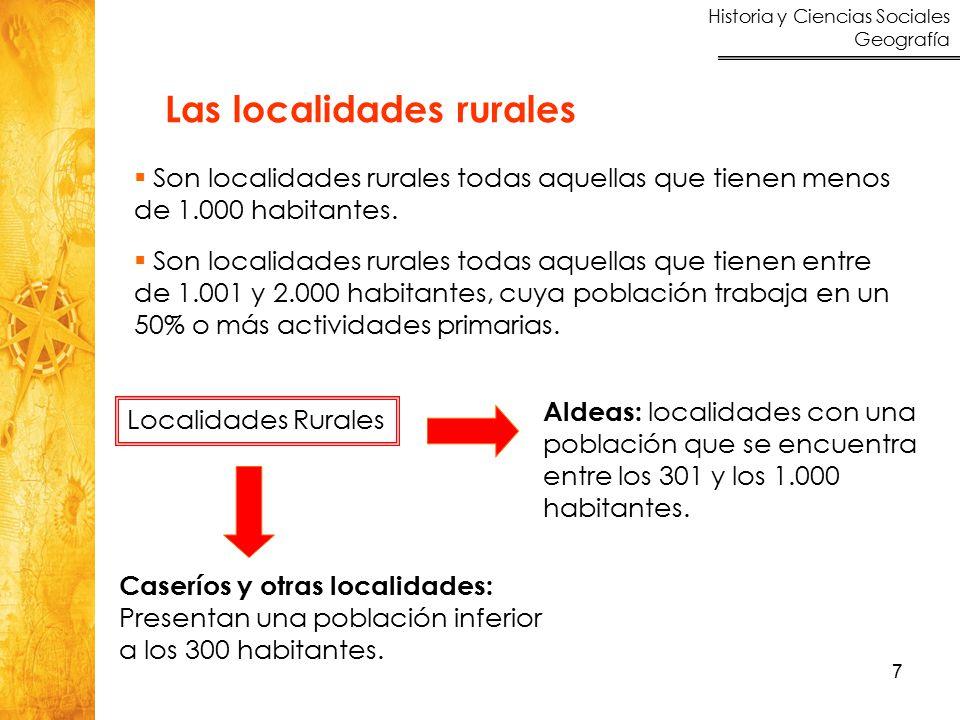 Historia y Ciencias Sociales Geografía 7 Las localidades rurales  Son localidades rurales todas aquellas que tienen menos de 1.000 habitantes.