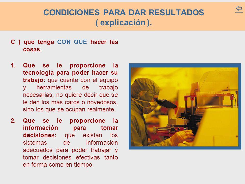 CONDICIONES PARA DAR RESULTADOS ( explicación ).C ) que tenga CON QUE hacer las cosas.