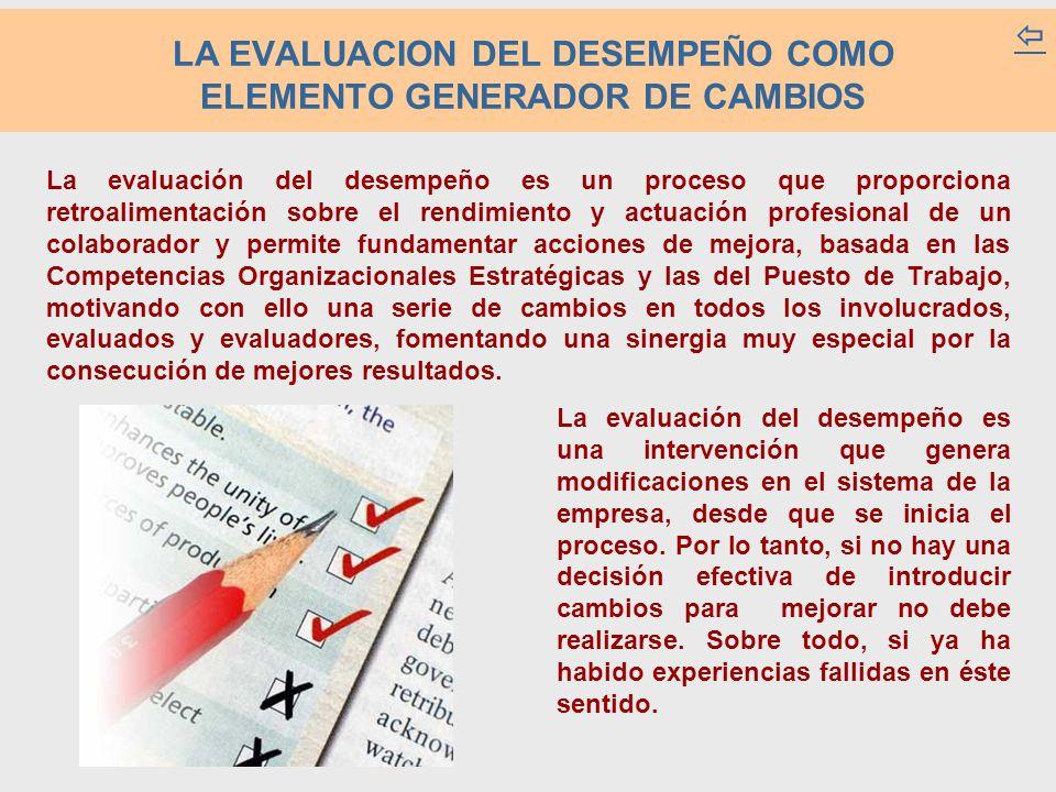 La evaluación del desempeño es un proceso que proporciona retroalimentación sobre el rendimiento y actuación profesional de un colaborador y permite fundamentar acciones de mejora, basada en las Competencias Organizacionales Estratégicas y las del Puesto de Trabajo, motivando con ello una serie de cambios en todos los involucrados, evaluados y evaluadores, fomentando una sinergia muy especial por la consecución de mejores resultados.