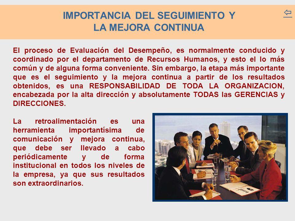 IMPORTANCIA DEL SEGUIMIENTO Y LA MEJORA CONTINUA  El proceso de Evaluación del Desempeño, es normalmente conducido y coordinado por el departamento d