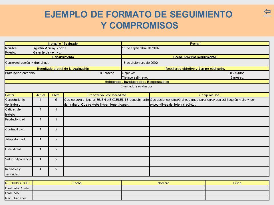 EJEMPLO DE FORMATO DE SEGUIMIENTO Y COMPROMISOS 