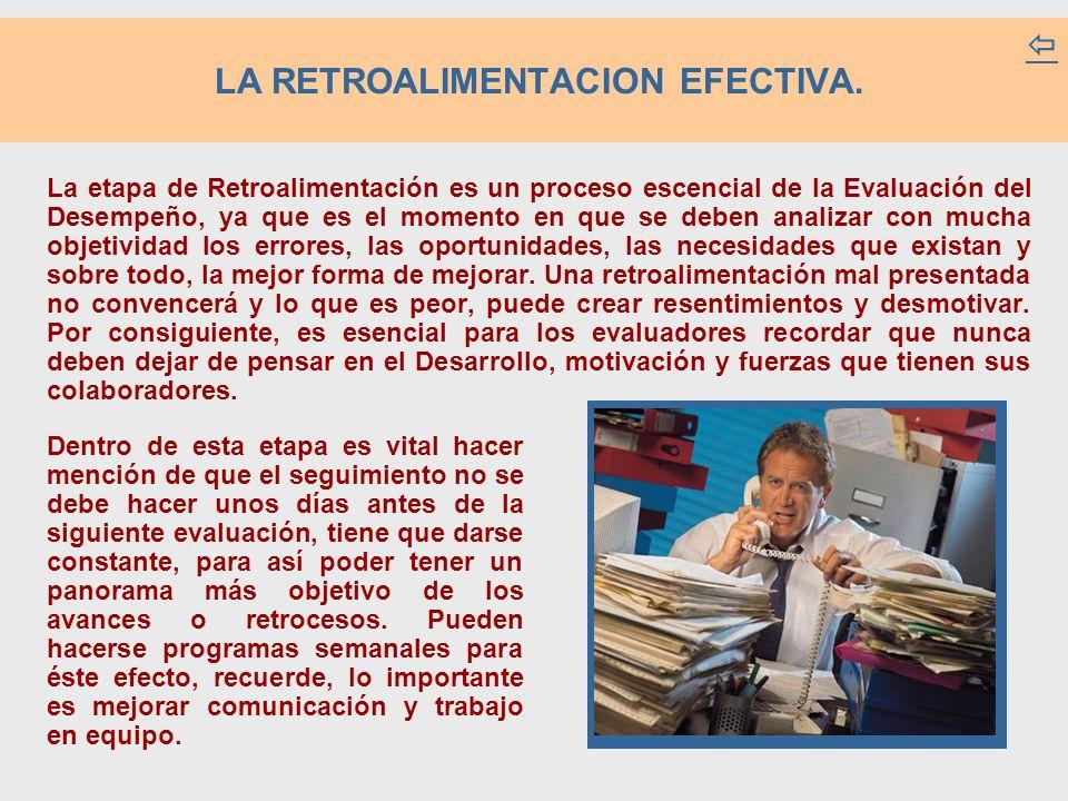 LA RETROALIMENTACION EFECTIVA.  La etapa de Retroalimentación es un proceso escencial de la Evaluación del Desempeño, ya que es el momento en que se