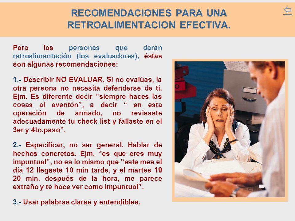 RECOMENDACIONES PARA UNA RETROALIMENTACION EFECTIVA.  Para las personas que darán retroalimentación (los evaluadores), éstas son algunas recomendacio