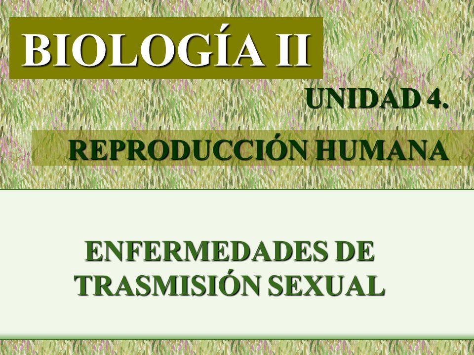 ENFERMEDADES DE TRASMISIÓN SEXUAL BIOLOGÍA II UNIDAD 4. REPRODUCCIÓN HUMANA