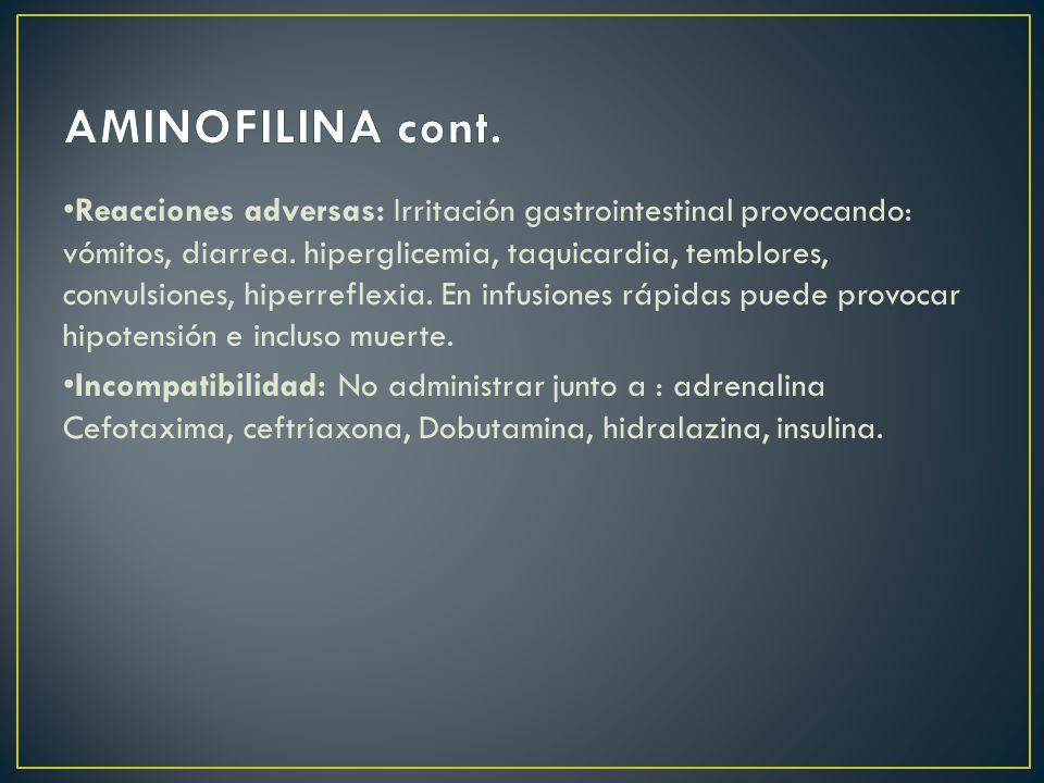 Reacciones adversas: Irritación gastrointestinal provocando: vómitos, diarrea.