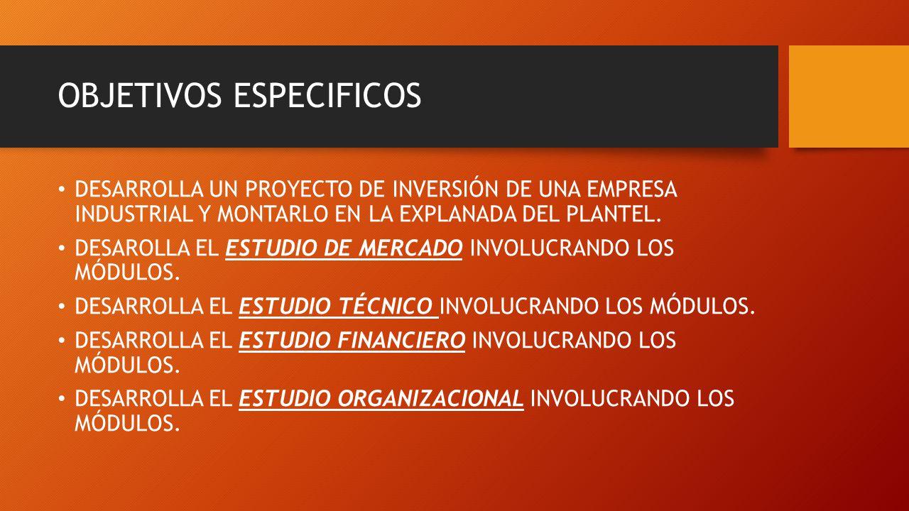 OBJETIVOS ESPECIFICOS DESARROLLA UN PROYECTO DE INVERSIÓN DE UNA EMPRESA INDUSTRIAL Y MONTARLO EN LA EXPLANADA DEL PLANTEL. DESAROLLA EL ESTUDIO DE ME