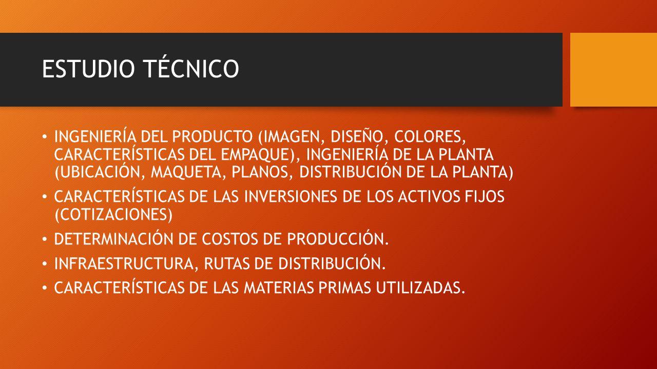 ESTUDIO TÉCNICO INGENIERÍA DEL PRODUCTO (IMAGEN, DISEÑO, COLORES, CARACTERÍSTICAS DEL EMPAQUE), INGENIERÍA DE LA PLANTA (UBICACIÓN, MAQUETA, PLANOS, D