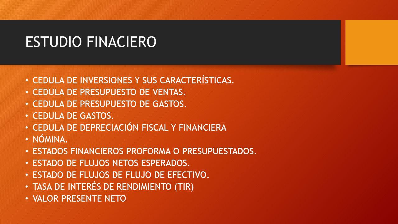 ESTUDIO FINACIERO CEDULA DE INVERSIONES Y SUS CARACTERÍSTICAS. CEDULA DE PRESUPUESTO DE VENTAS. CEDULA DE PRESUPUESTO DE GASTOS. CEDULA DE GASTOS. CED
