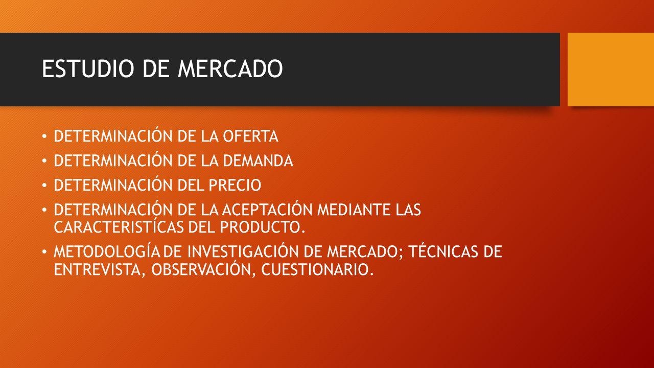 ESTUDIO DE MERCADO DETERMINACIÓN DE LA OFERTA DETERMINACIÓN DE LA DEMANDA DETERMINACIÓN DEL PRECIO DETERMINACIÓN DE LA ACEPTACIÓN MEDIANTE LAS CARACTE