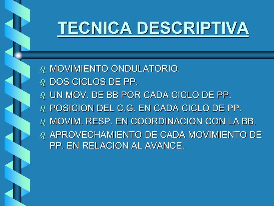 TECNICA DESCRIPTIVA b MOVIMIENTO ONDULATORIO.b DOS CICLOS DE PP.