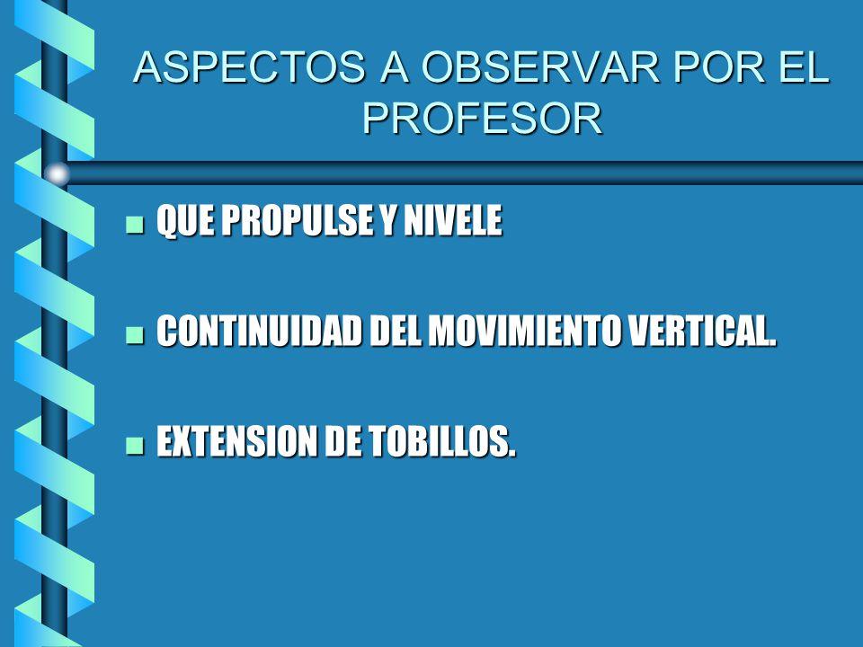 ASPECTOS A OBSERVAR POR EL PROFESOR n QUE PROPULSE Y NIVELE n CONTINUIDAD DEL MOVIMIENTO VERTICAL.