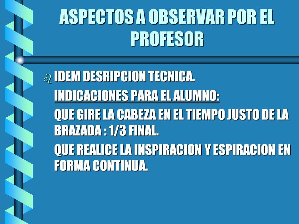 ASPECTOS A OBSERVAR POR EL PROFESOR b IDEM DESRIPCION TECNICA.