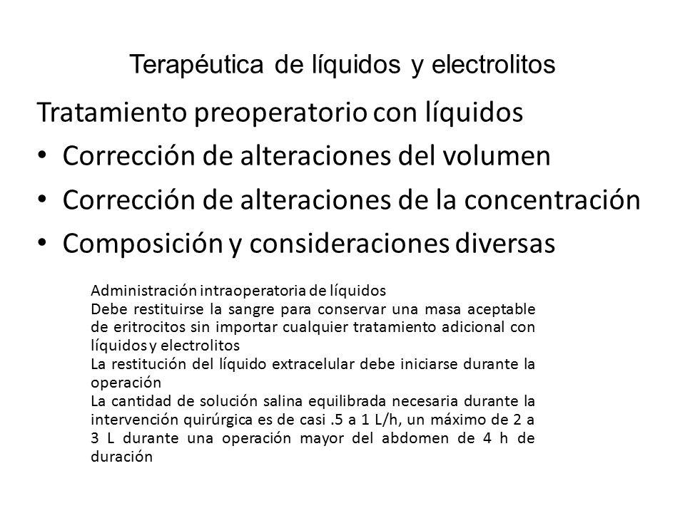 Terapéutica de líquidos y electrolitos Soluciones parenterales La solución de Ringer con lactato es fisiológica y contiene: 130 meq de Na 109meq de cloruro 28meq de lactato