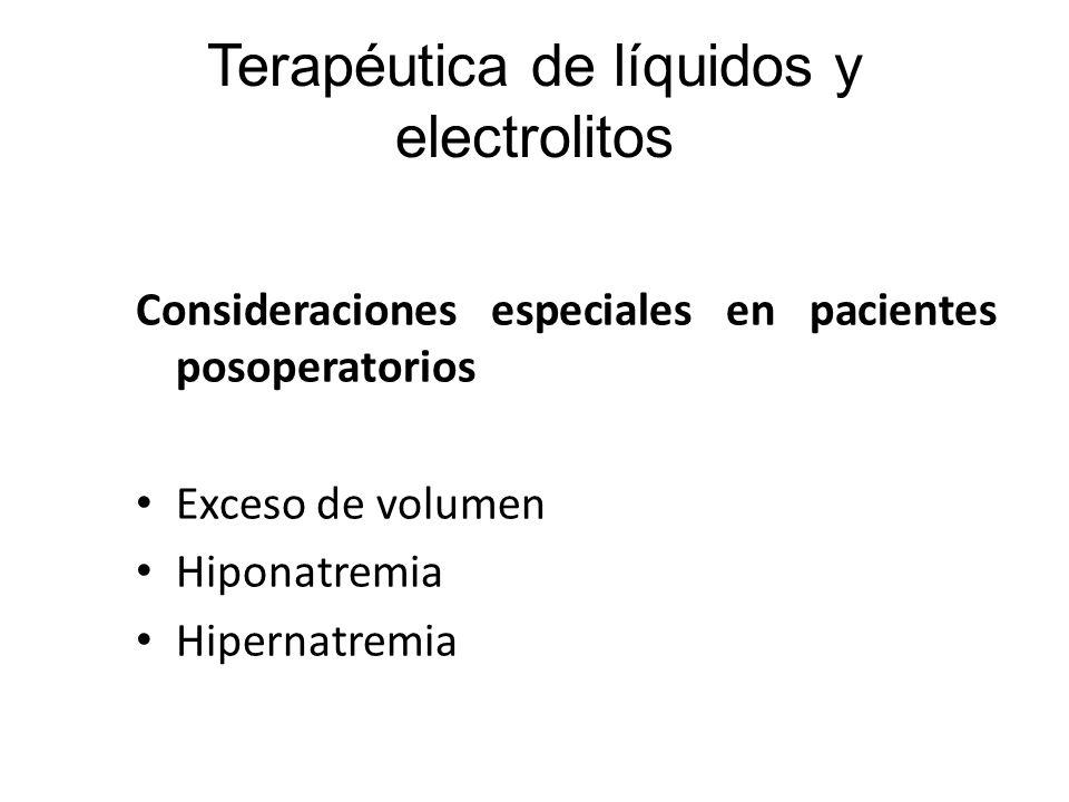 Administración posoperatoria de líquidos Posoperatorio inmediato Posoperatorio tardío Consideraciones especiales en pacientes posoperatorios Exceso de volumen Hiponatremia Hipernatremia