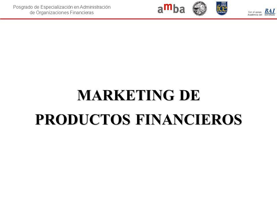 Posgrado de Especialización en Administración de Organizaciones Financieras MARKETING DE PRODUCTOS FINANCIEROS